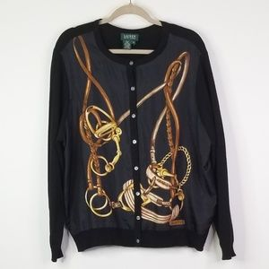 Ralph Lauren black silk cashmere cardigan